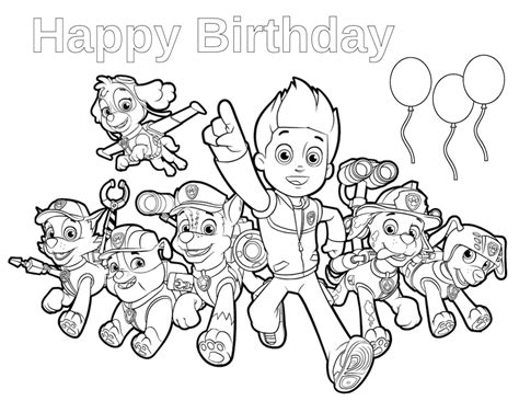 birthday coloring pages paw patrol birthday happy birthday coloring page paw