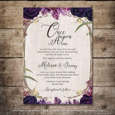 fairytale wedding invitations enchanted forest wedding invitation purple wedding