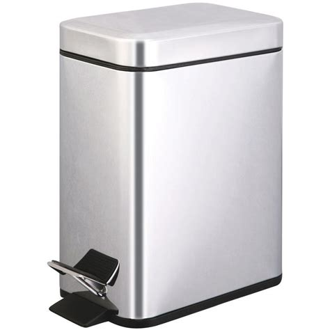 Small Trash Can Home Depot 5 Liter Polished Stainless Steel Touchless Step On Trash