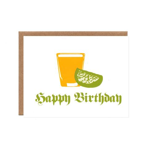 birthday tequila happy 21st birthday tequila and lime screenprinted card