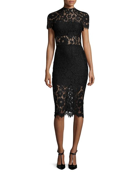 Alexis Leona Short sleeve Lace Sheath Dress in Black Lyst