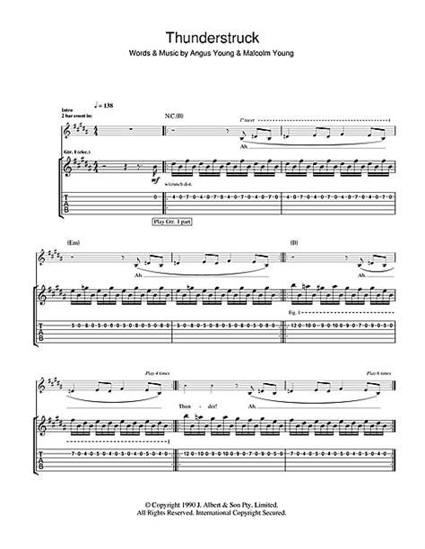 Thunderstruck Guitar Tab by AC/DC (Guitar Tab – 102221) Ac Dc Thunderstruck Guitar Tabs