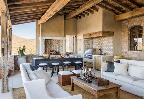 mediterranean style home with rustic interiors in