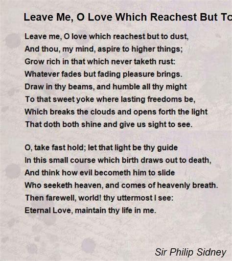 leave   love  reachest   dust poem  sir philip sidney poem hunter
