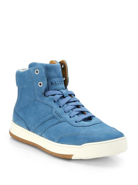 high top bally sneakers bally suede hightop sneakers in blue for lyst