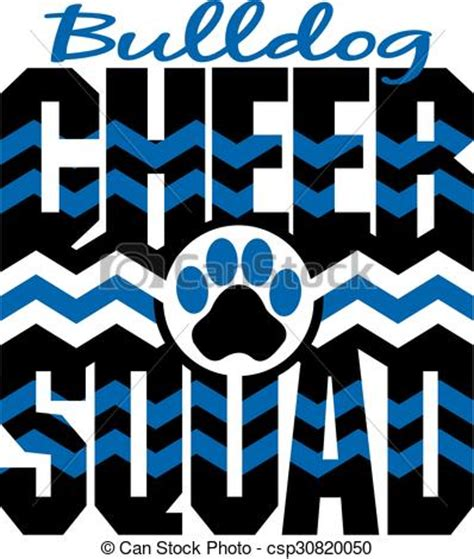 bulldog cheer squad with chevrons and paw print