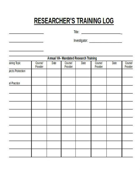 research log template 9 research log sles templates pdf doc