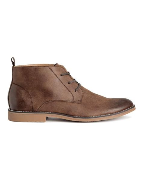 mens boots h m h m chukka boots in brown for lyst