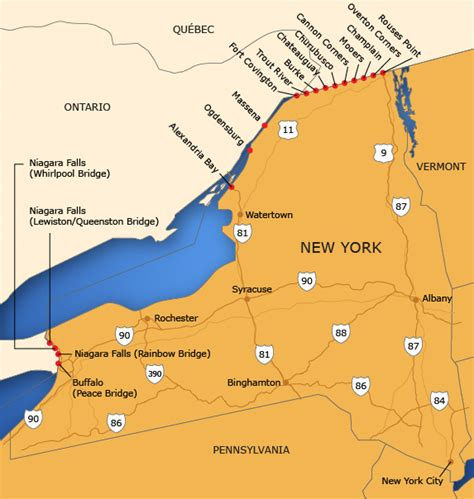 usa and canada border map map canada new york border emaps world