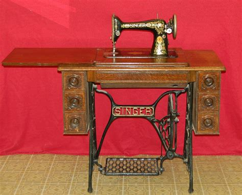 antique singer sewing machine treadle grid sewing