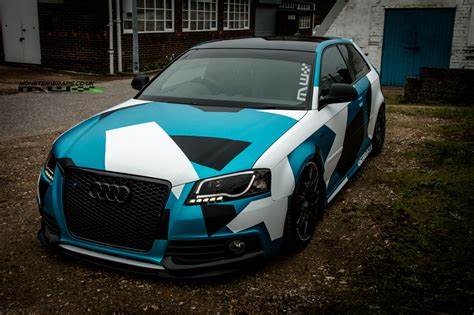 camo wrapped cars audi s3 car wrap 3m 1080 satin ocean shimmer blue white