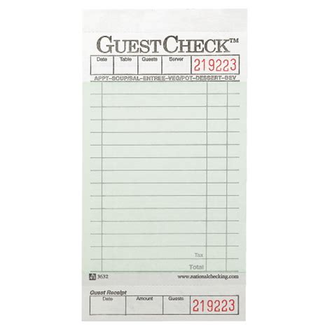 restaurant guest check template restaurant guest checks