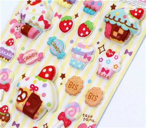 3 D Sticker by Japanese Sponge 3d Sticker Cupcakes Macaroons Sticker