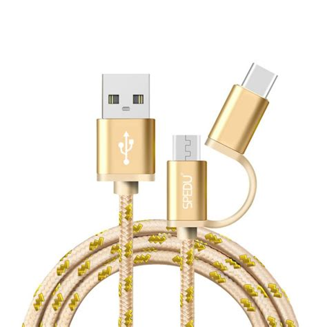 Kabel Usb 2 In 1 For All Type Smartphone spedu 2 in 1 usb kabel type c micro usb 1 0m guld till l 229 gpris
