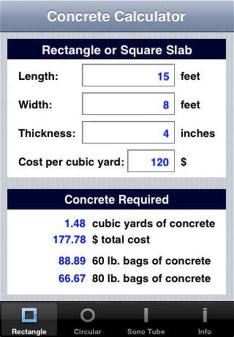 Cubic Yard Estimator Concrete Calculator Apppicker