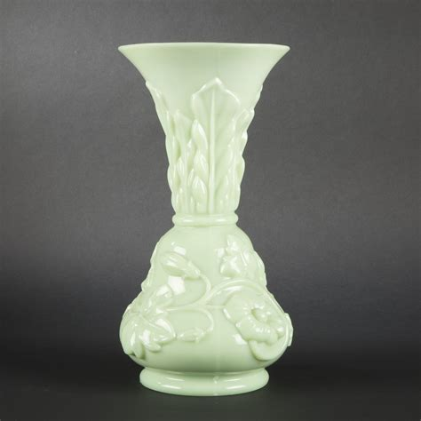 Opaline Glass Vase by Pale Green Opaline Glass Vase Late 19th Century Expertissim