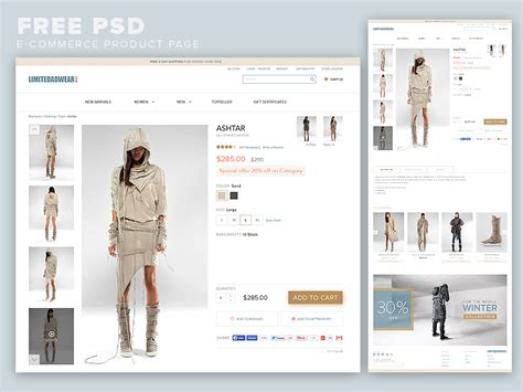 product page design template ecommerce product page template free psd at