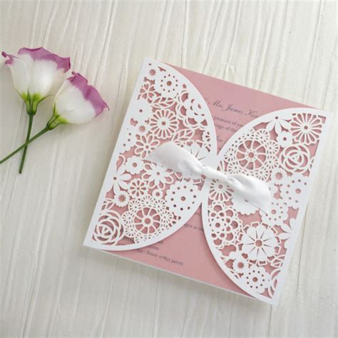 Pink Blush Lace Laser Cut Wedding Invitations All In One Invitation Rs laser cut floral lace personalised wedding invitations
