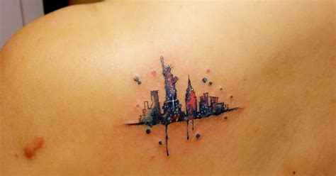 watercolor tattoos new york watercolor style new york skyline on the left