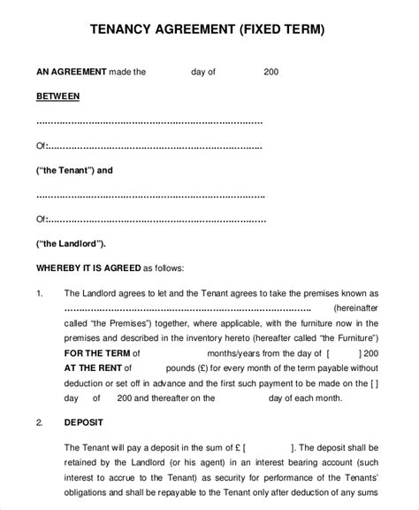 term tenancy agreement template uk 10 month to month rental agreement free sle exle