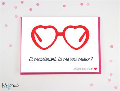 Carte Valentin carte valentin les lunettes coeurs momes net