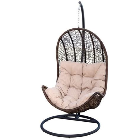 Shaped Chair by Bowery Hill Outdoor Wicker Egg Shaped Chair In Espresso