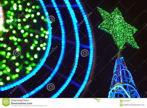 green christmas tree with blue lights green xmas tree with out decoration stock image