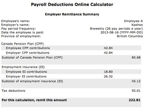 wage deductions calculator entering payroll deductions canada kashoo help center