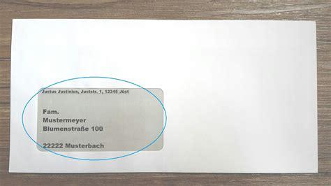 Beschriftung Brief Mit Fenster by Briefe Und Pakete Richtig Beschriften F 252 R Deutschland