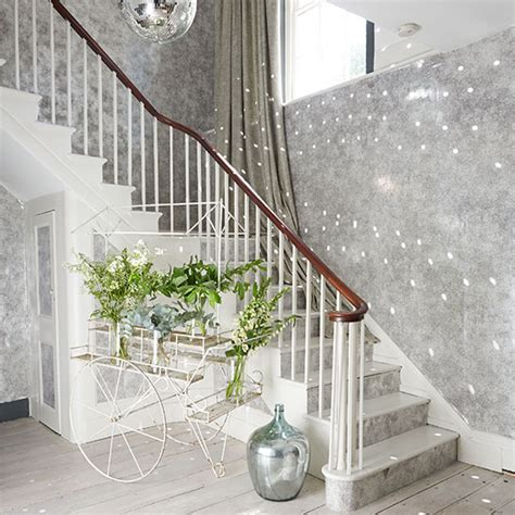 glitter wallpaper stairs grey sparkly hallway with silver accents hallway