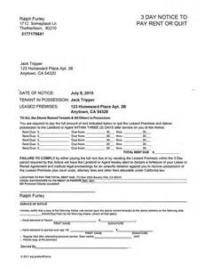 3 day notice to pay or quit template california 3 day notice to pay or quit ez landlord forms