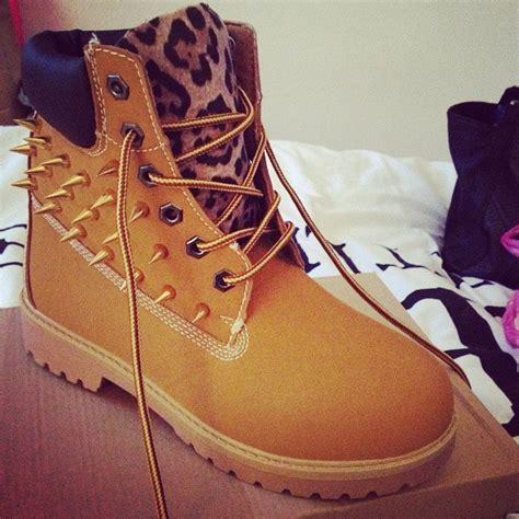 leopard print spiked timberland boots big