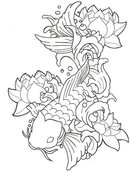 koi fish with lotus flower tattoo designs black outline koi fish with lotus flowers stencil