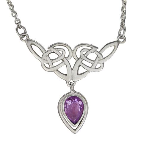 celtic knot amethyst drop sterling silver necklace