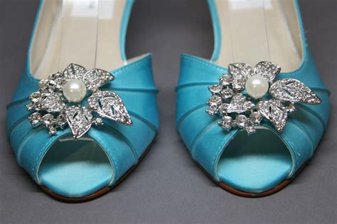 custom wedding sneakers custom wedding shoes blue peeptoes with pearl and