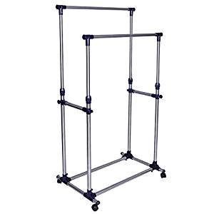 Clothes Racks On Wheels by Songmics Heavy Duty Stainless Steel Adjustable