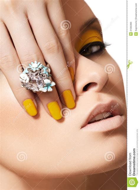 beautiful fashion model in jewelery and lila manicure fashion model glamour jewelry make up manicure stock