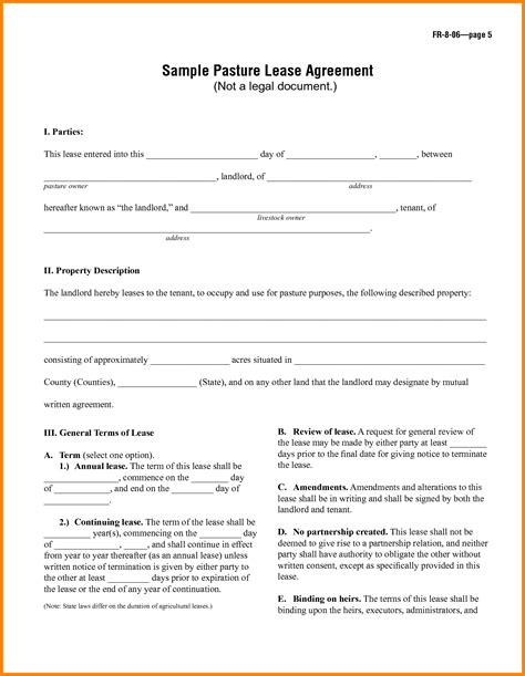 8 Simple One Page Lease Agreement Template Ledger Paper One Year Lease Template