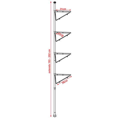 pole extending telescopic four tier metal and glass