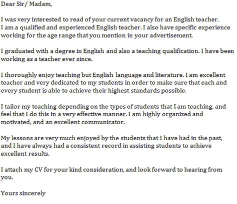 english teacher cover letter exle learnist org