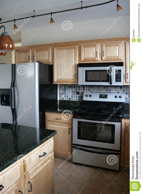 Kitchen Wood Cabinets Stainless Refrigerator Stock Image