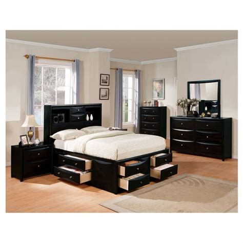 queen bedroom set with storage drawers black painted mahogany wood captains bed frame mixed
