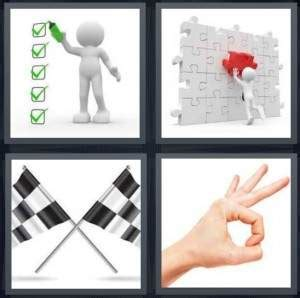 celebrity level meaning 4 pics 1 word answer for checkmark puzzle flags ok