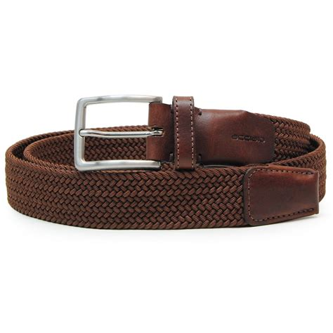 braided stretch belt elastic brown with leather appliqu 233