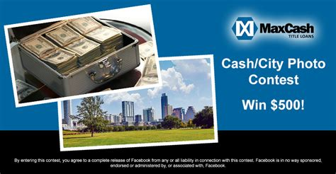 Easy Contests To Win Money - hometown cash photo contest sponsored by max cash title loans