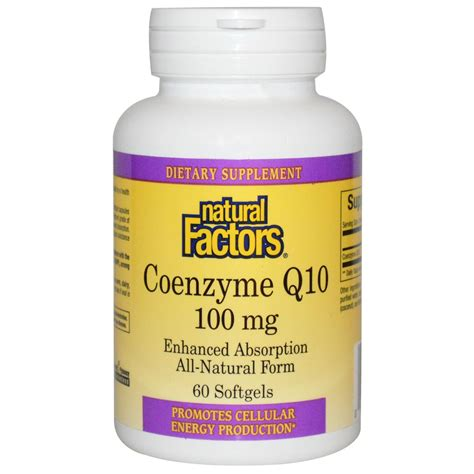 Vitamin Coenzyme Q10 Factors Coenzyme Q10 Enhanced Absorption 100 Mg