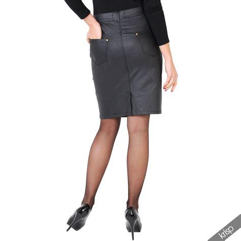 womens look stretch denim pu leather pencil