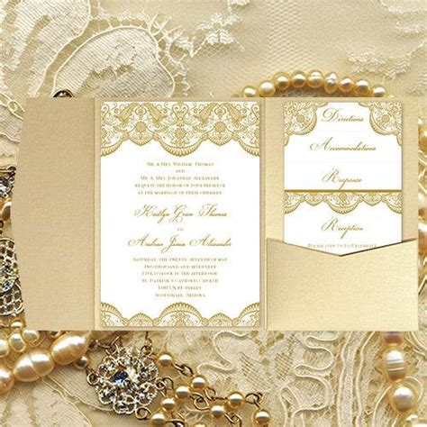 Pocket Fold Wedding Invitations Quot Vintage Lace Quot Gold Diy Printable Templates Make Your Own Make Your Own Wedding Invitations Templates