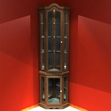 Curio Cabinet With Interior Lighting Brown Wooden Frames Curio Corner Cabinet With
