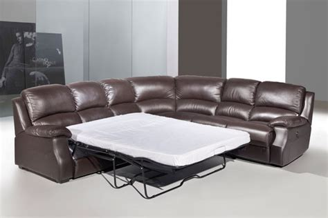 corner sofa with recliner esprit leather corner sofa with recliner and sofabed brown
